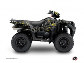Graphic Kit ATV Camo Suzuki King Quad 400 Black Yellow