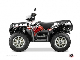 Polaris 550-850-1000 Sportsman Forest ATV ERASER Graphic kit Red White