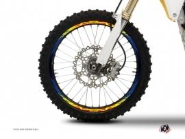 Graphic Kit Wheel decals Dirt Bike Eraser Blue Yellow