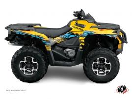 Can Am Outlander 1000 ATV ERASER Graphic kit Yellow Blue