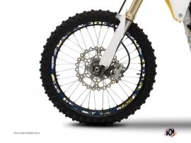 Graphic Kit Wheel decals Dirt Bike Freegun Blue Yellow