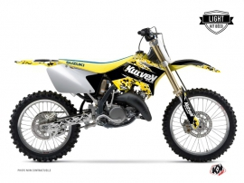 Suzuki 250 RM Dirt Bike PREDATOR Graphic kit Black Yellow LIGHT