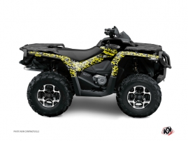 Graphic Kit ATV Predator Can Am Outlander 1000 Black Grey Yellow