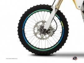Graphic Kit Wheel decals Dirt Bike Stage Yellow Blue