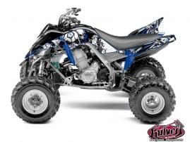 Yamaha 700 Raptor ATV Trash Graphic Kit Black Blue