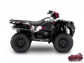 Graphic Kit ATV Trash Suzuki King Quad 750 Black Pink