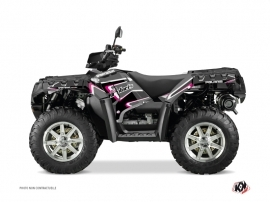 Polaris 550-850-1000 Sportsman Forest ATV VINTAGE POLARIS Graphic kit Black Pink