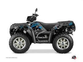Polaris 550 Sportsman Forest ATV Visor Graphic Kit Black Blue