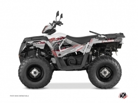 Polaris 570 Sportsman Touring ATV Action Graphic Kit Grey Red