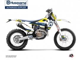 Husqvarna 250 TE Dirt Bike Block Graphic Kit Blue Yellow