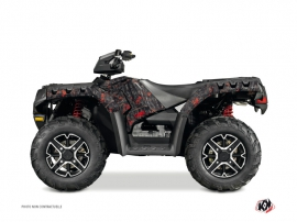 Polaris 550-850-1000 Sportsman Touring ATV Camo Graphic Kit Black Red