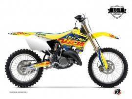 Suzuki 250 RM Dirt Bike Eraser Graphic Kit Blue Yellow LIGHT
