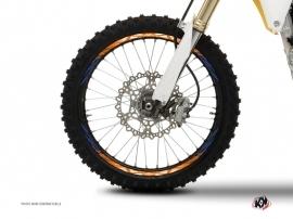 Graphic Kit Wheel decals Dirt Bike Eraser Blue Orange