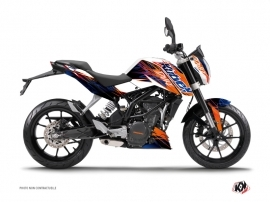KTM Duke 125 Street Bike Eraser Graphic Kit Blue Orange