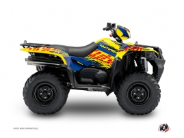 Suzuki King Quad 500 ATV Eraser Graphic Kit Blue Yellow
