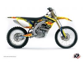 Suzuki 450 RMZ Dirt Bike Eraser Graphic Kit Blue Yellow