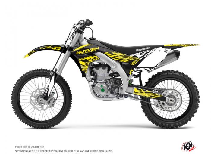 Kawasaki 450 KXF Dirt Bike Eraser Fluo Graphic Kit Yellow - Kutvek