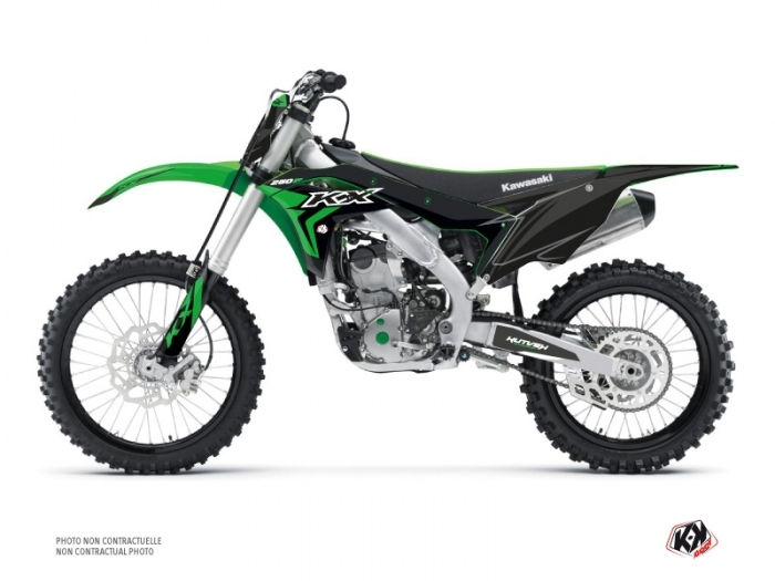 PACK Kawasaki 250 KXF Dirt Bike Halftone Graphic Kit Black Green +