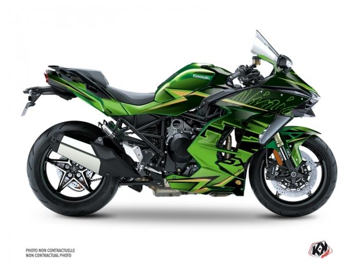 Kawasaki H2 SX Street Bike Profil Graphic Kit Black Green