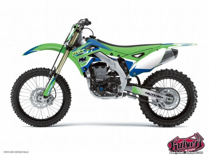 Kawasaki 125 Kx Dirt Bike Pulsar Graphic Kit Blue Kutvek Kit Graphik