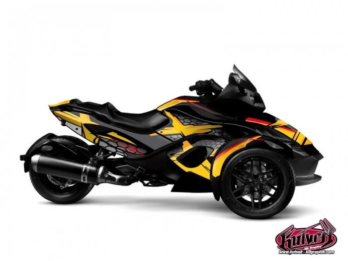 kit graphique hybride replica can am spyder rs jaune kutvek kit graphik. Black Bedroom Furniture Sets. Home Design Ideas