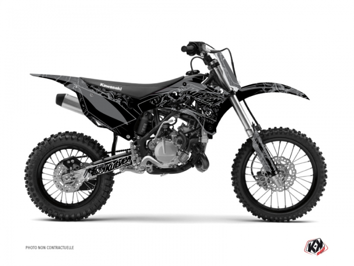Kawasaki 85 KX Dirt Bike Zombies Dark Graphic Kit Black - Kutvek Kit