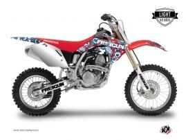Honda 125 CR Dirt Bike Freegun Eyed Graphic Kit Red Blue LIGHT