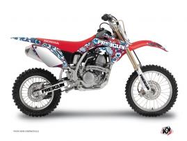 Honda 125 CR Dirt Bike Freegun Eyed Graphic Kit Red Blue
