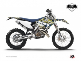Husqvarna 250 FE Dirt Bike Freegun Eyed Graphic Kit Blue Yellow LIGHT