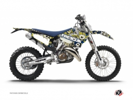 Husqvarna 300 TE Dirt Bike Freegun Eyed Graphic Kit Blue Yellow