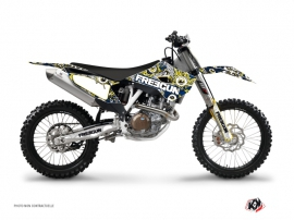 Kit Déco Moto Cross Freegun Eyed Husqvarna FC 350 Bleu Jaune