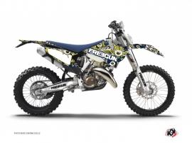 Husqvarna 350 FE Dirt Bike Freegun Eyed Graphic Kit Blue Yellow