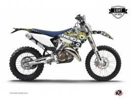 Husqvarna 350 FE Dirt Bike Freegun Eyed Graphic Kit Blue Yellow LIGHT