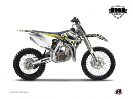 Kit Déco Moto Cross Freegun Eyed Husqvarna TC 85 Bleu Jaune LIGHT