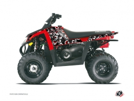 Polaris Scrambler 500 ATV Freegun Eyed Graphic Kit Grey Red