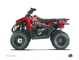 Polaris Scrambler 500 ATV Freegun Eyed Graphic Kit Red Grey