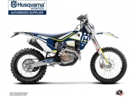 Kit Déco Moto Cross Heritage Husqvarna 350 FE Bleu Blanc