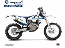 Husqvarna 125 TE Dirt Bike Legacy Graphic Kit Blue Yellow