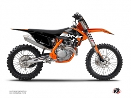 PACK KTM 250 SXF Dirt Bike Halftone Graphic Kit Black Orange + Plastics Kit 250 SXF Black from 2016