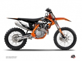 PACK KTM 450 SXF Dirt Bike Halftone Graphic Kit Black Orange + Plastics Kit 450 SXF Black from 2016