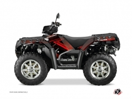 Polaris 1000 Sportsman Forest ATV Rock Graphic Kit Black Red