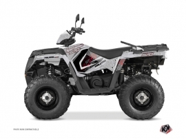 Polaris 570 Sportsman Touring ATV Rock Graphic Kit Grey Red