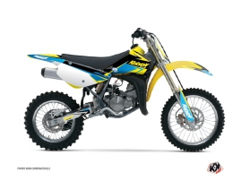 Suzuki 85 RM Dirt Bike Stage Graphic Kit Yellow Blue